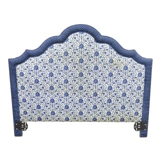 Vintage French Country Blue & White Upholstered Queen Size Headboard For Sale