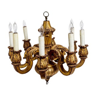 Italian Baroque Style Carved & Gilt Wood Chandelier 8 Arms For Sale