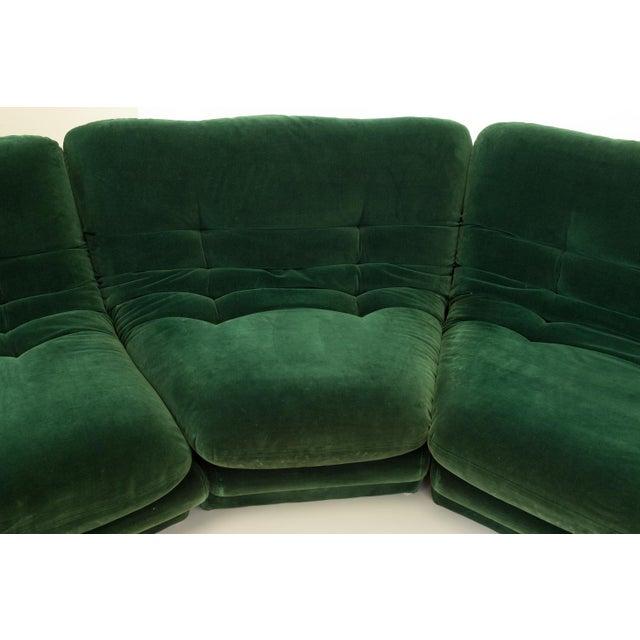 Textile Mid-Century Modern Vladimir Kagen for Preview Hunter Green Velvet Sectional Sofa For Sale - Image 7 of 12