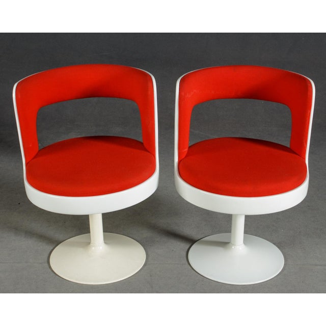 1970s Mid-Century Modern Red & White Easy Chairs - A Pair For Sale In Boston - Image 6 of 8