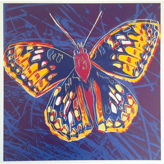 """Blue Andy Warhol Estate Rare Vintage 1992 Endangered Species Collector's Lithograph Print """" San Francisco Silverspot Butterfly """" 1983 For Sale - Image 8 of 9"""