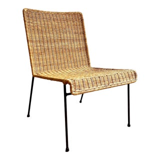 Vintage Mid-Century Modern Rattan Side Chair For Sale