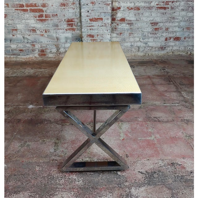 1960s Beautiful Designer Chrome Coffee Table With Lacquered Wooden Top For Sale - Image 5 of 10