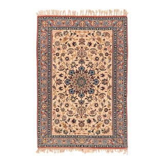 1920s Persian Antique Isfahan Silk Rug-2′1″ × 3′3″ For Sale
