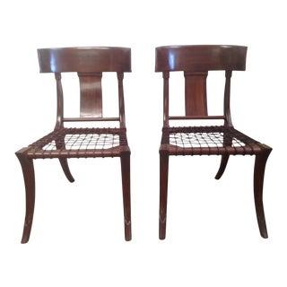 Modern Walnut Klismos Style Chairs - a Pair For Sale