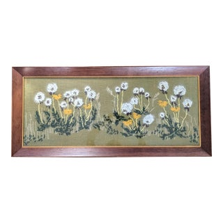 Mid Century Crewel Textile Floral Framed Art For Sale