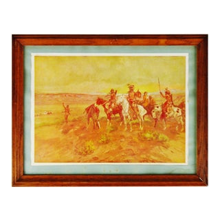 Antique 1902 Framed C. M. Russell Finding the Trail Native American Print For Sale