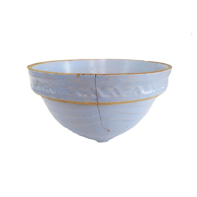 Vintage Light Pale Blue Stoneware Earthenware Pottery Farmhouse Round Mixing Bowl For Sale - Image 4 of 5