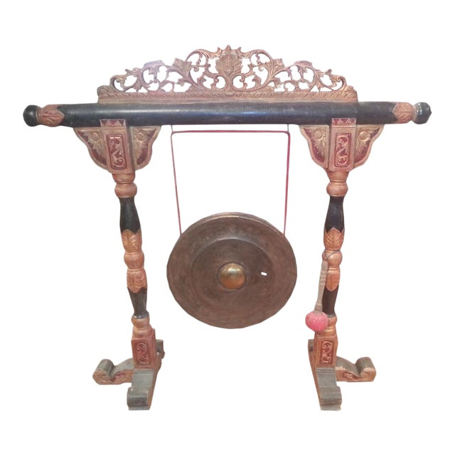 "Indonesian ""Gong"" on Carved Stand - Image 1 of 3"