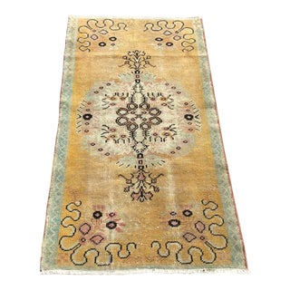Vintage Hand Knotted Rustic Area Rug For Sale