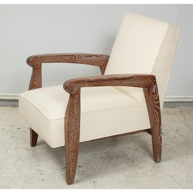 Custom Pair of Cerused Oak Lounge Chairs in the French 40s Manner For Sale - Image 9 of 9