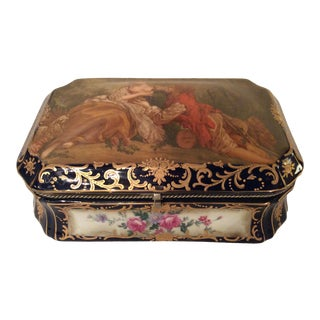 French Sevres Cobalt Blue Hand-Painted Accessory Box For Sale