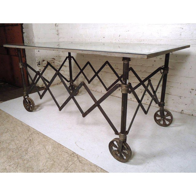 Industrial Vintage Industrial Accordion Table For Sale - Image 3 of 11