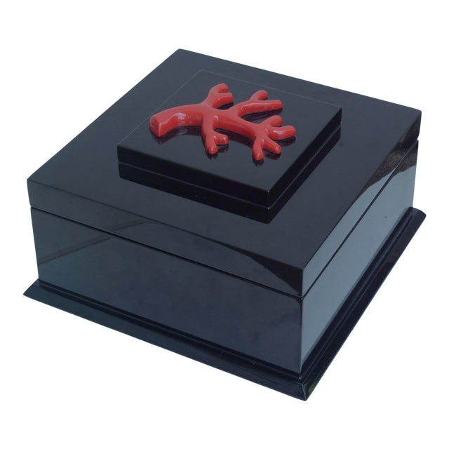 Contemporary Black Lacquer Box With Red Coral Accent by Jacques Blanchard For Sale