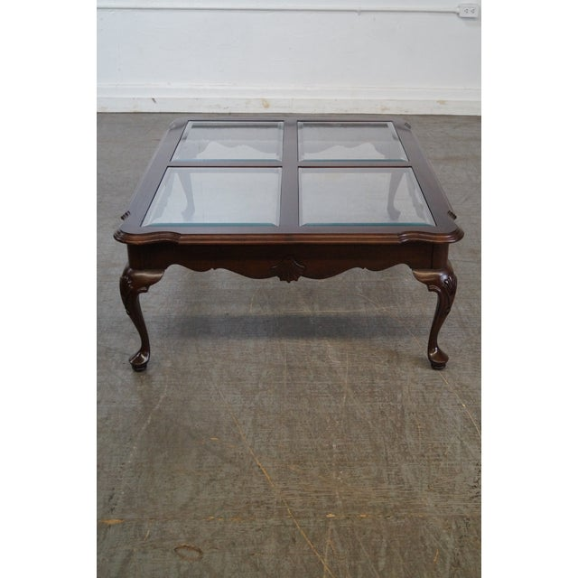Ethan Allen Georgian Court solid cherry Queen Anne inset glass top coffee table. AGE/COUNTRY OF ORIGIN: Approx 25 years,...