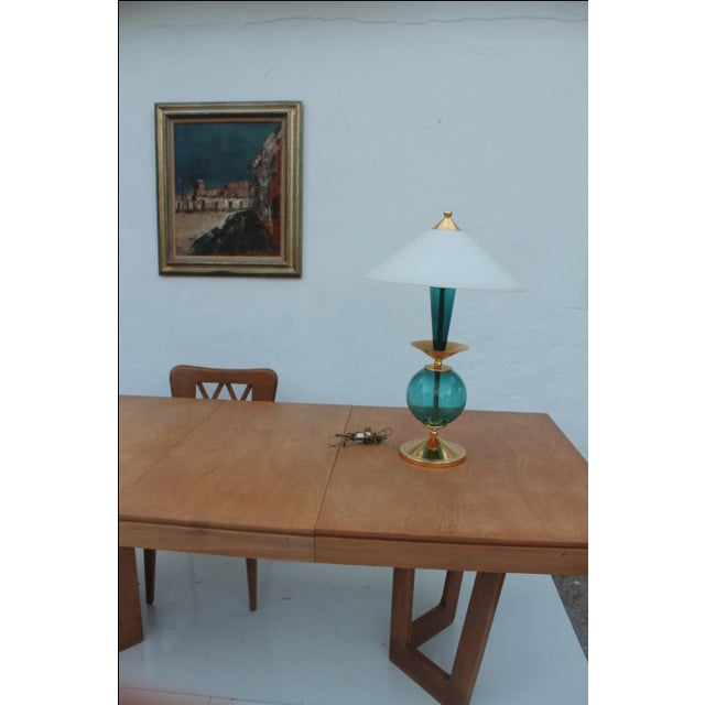 Contemporary Blue and Brass Lacquered Table Lamp - Image 10 of 11