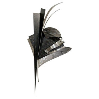 1990s Vintage Contemporary Signed Steel Metal Wall Sculpture by Christiane Martens For Sale