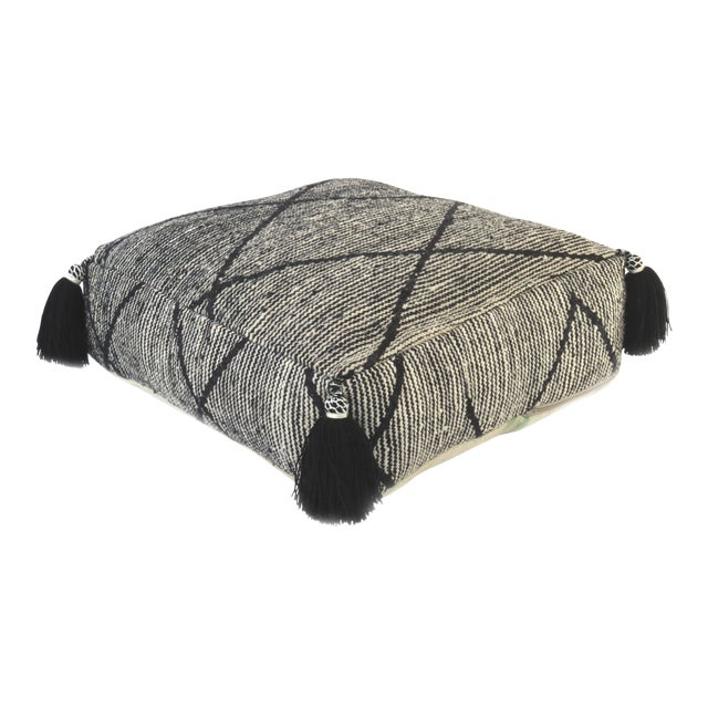 Black Beni Ourain Moroccan Wool Pouf For Sale