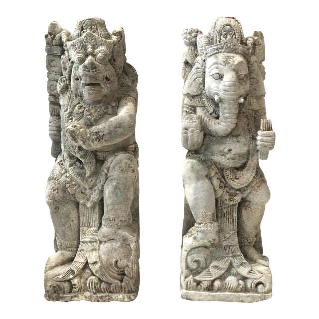 Antique Carved Sandstone Hindu Deities - A Pair - Image 1 of 7
