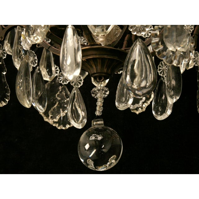 Brown Vintage French Crystal 8 Light Chandelier For Sale - Image 8 of 10