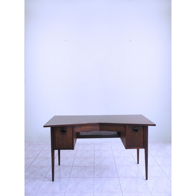 Dunbar Furniture Edward Wormley for Dunbar Teak & Cane Desk For Sale - Image 4 of 6