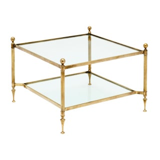 Maison Baguès Brass and Glass Square Coffee Table For Sale