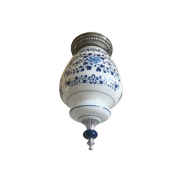 1960s Mid Century Milk Glass Floral Flush Light For Sale - Image 5 of 9