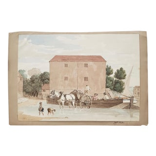 """Late 19th Century Watercolor """"Country Port"""" by Captain Foster For Sale"""