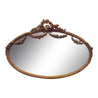 French Style Large Oval Patinated Mirror For Sale