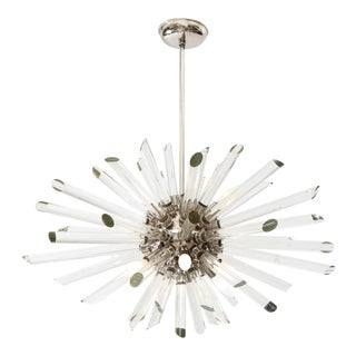 Nickel Plated Ten Light Sputnik Chandelier With Glass Rods For Sale