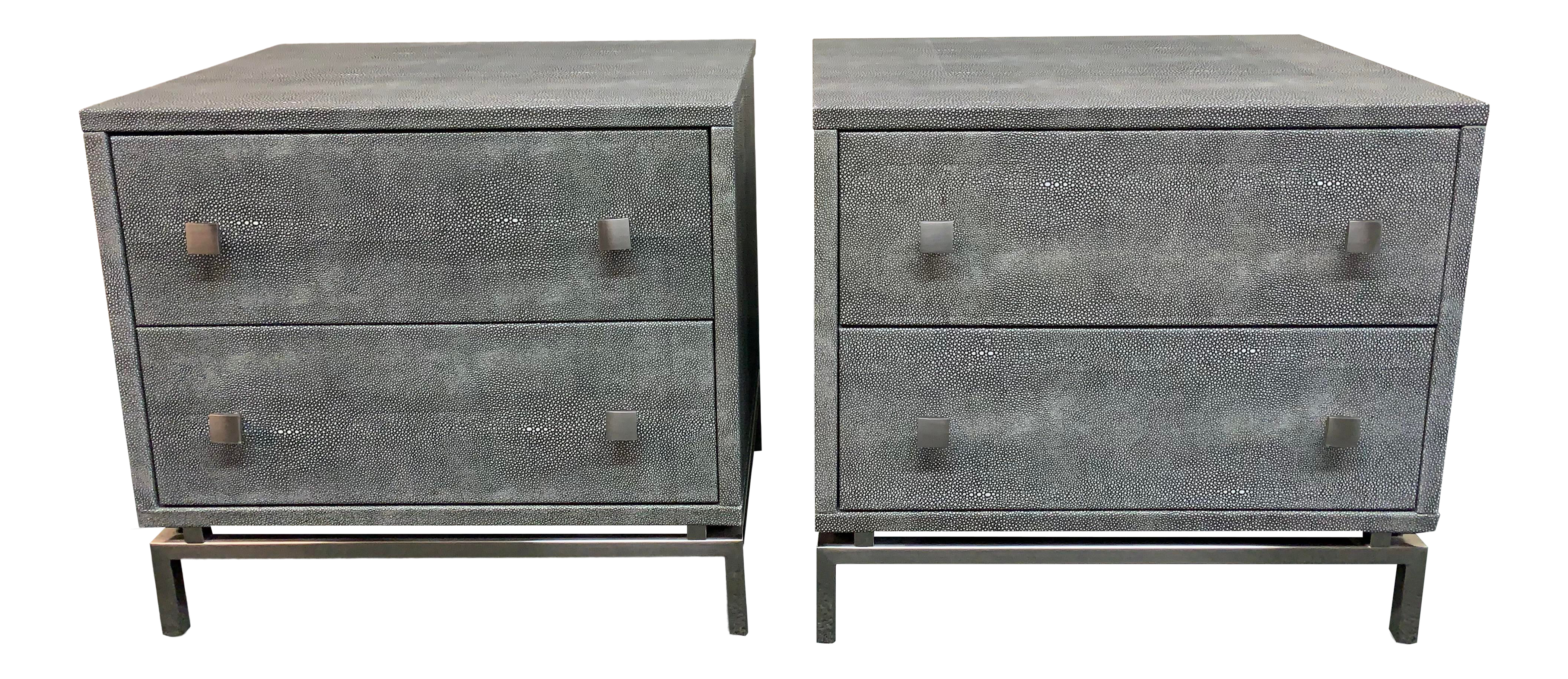 Cb2 Faux Shagreen Nightstands A Pair