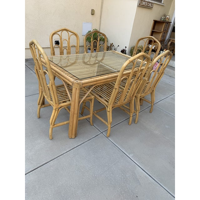 1970s Boho Chic Bamboo Dining Set of Six Chairs For Sale - Image 12 of 13