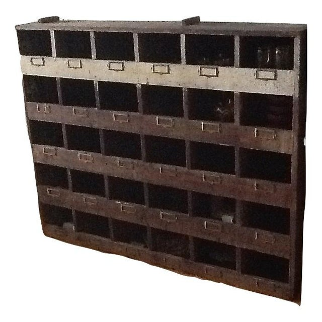Vintage Industrial Wood Pigeon Hole Storage Shelves - Image 2 of 10