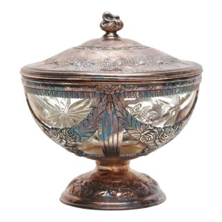 Silver & Cut Glass Lidded Candy Dish For Sale