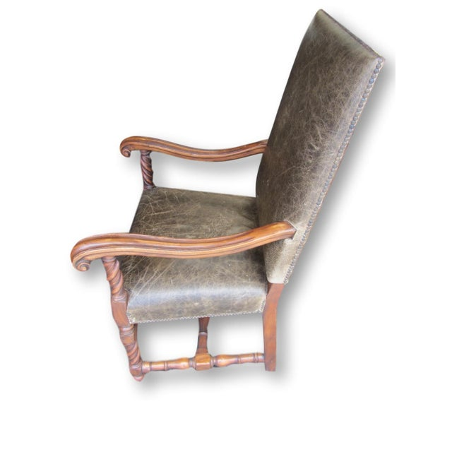 Gregorius Pineo Leather Barley Twist Chair - Image 3 of 8