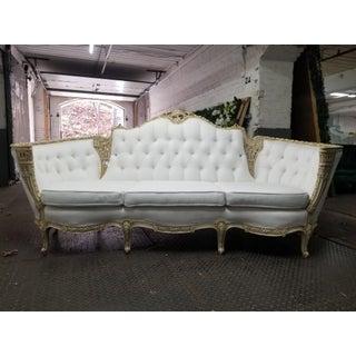 Antique Victorian Carved Wood Sofa With Ivory Linen Fabric White Couch Preview