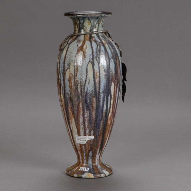 1930s Tall Signed Roger Guerin Vase with Iron Overlay For Sale - Image 5 of 8
