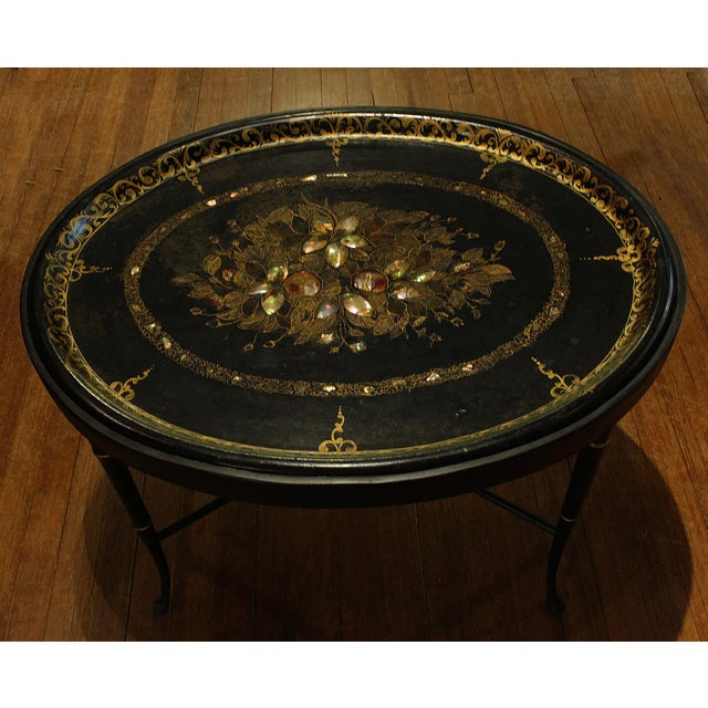 Black 19th Century English Oval Tray on Custom Stand For Sale - Image 8 of 8