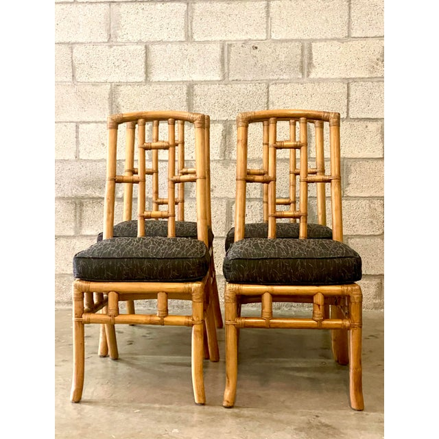 Vintage Coastal Bamboo Grid Dining Chairs - Set of Four For Sale - Image 4 of 8