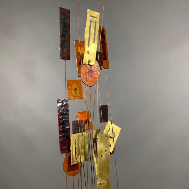 """1950s C. Jere Fused Glass & Metal Kinetic 53"""" Sculpture For Sale - Image 9 of 11"""