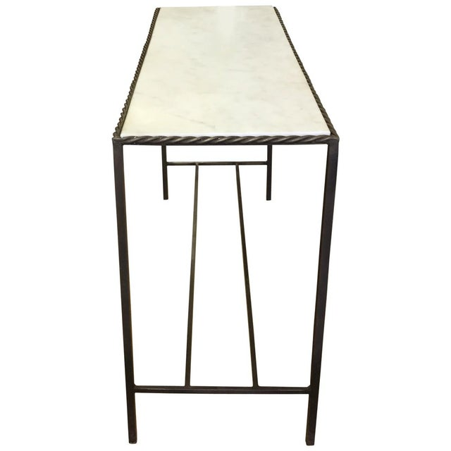 Metal Rectangular White Marble Top Console Table - Image 3 of 4