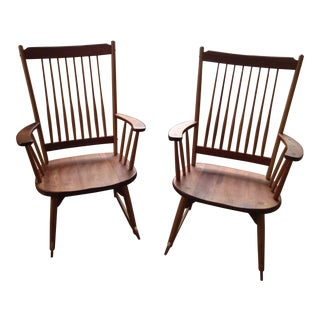 W.A Mitchell Cherry & Ash Wood Rocking Chairs - a Pair For Sale