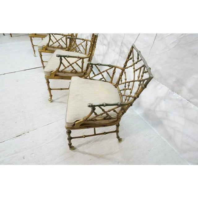 Here is a very nice matched set of four cast metal 'bamboo' style armchairs designed by Phyllis Morris, perfect for...