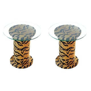 Retro Tiger Fabric Pedestal Side Tables For Sale
