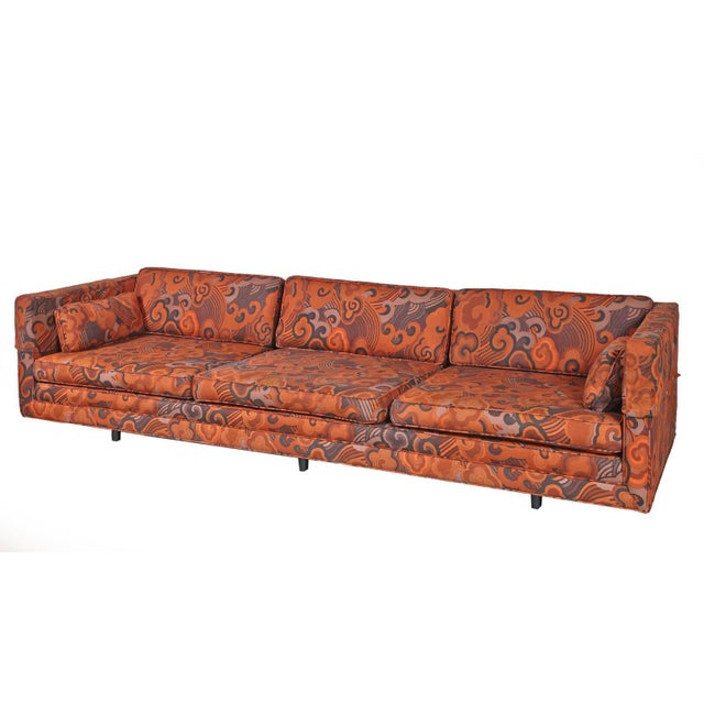 "Harvey Probber Harvey Probber Tuxedo Sofa with Jack Lenor Larson ""Happiness"" Upholstery For Sale - Image 4 of 8"