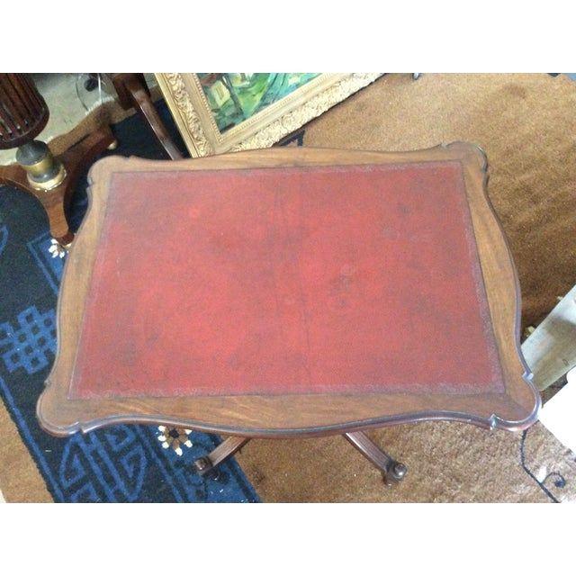 Antique English Leather Tilt Top Side Table - Image 4 of 6