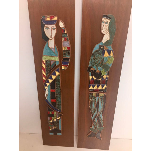 Wood Harlequin Figure Tile Plaques - A Pair For Sale - Image 7 of 8