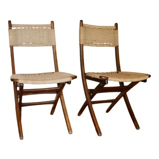 Vintage Hans Wegner Style Folding Woven Seat Chairs - a Pair For Sale