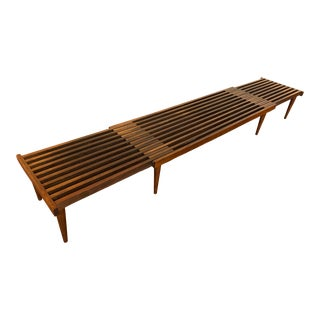 Mid-Century Expandable Slatted Bench by John Keal for Brown Saltman For Sale