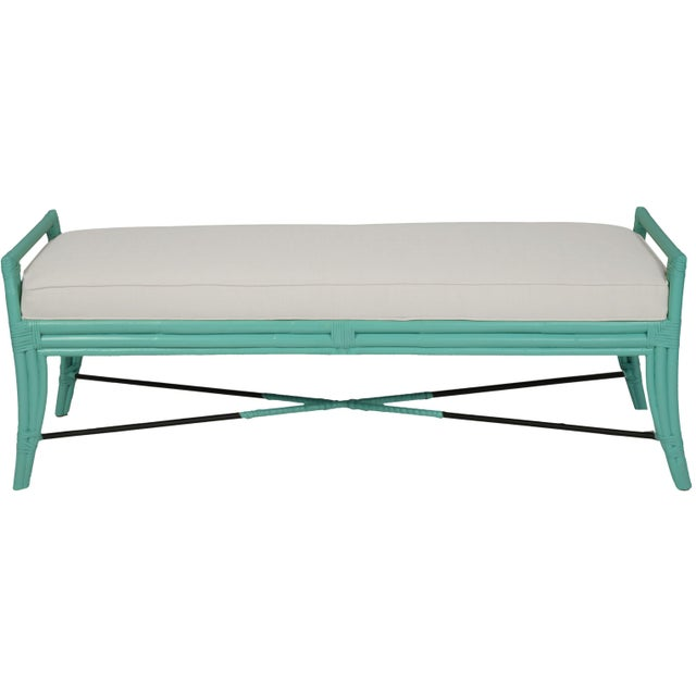 Coastal Malacca Bench - Turquoise For Sale - Image 3 of 3